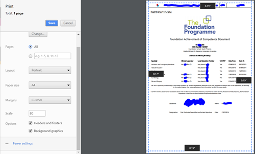 This image shows the chrome browser print to pdf function