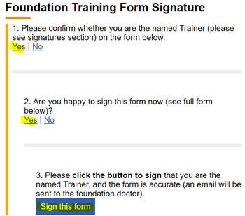 This image shows the form signature questions one, two and three with the sign this form button revealed and highlighted