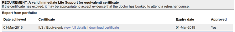 This image shows the mandatory certificate section of the ARCP summary of evidence report