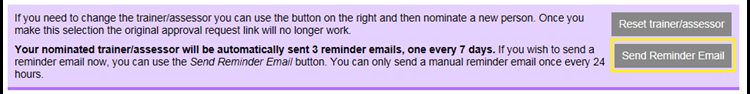 This image shows the awaiting signature banner with the send reminder email button highlighted