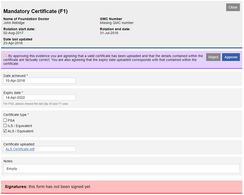 This image shows the submitted amndatory certificate form with the reject and approve buttons showing