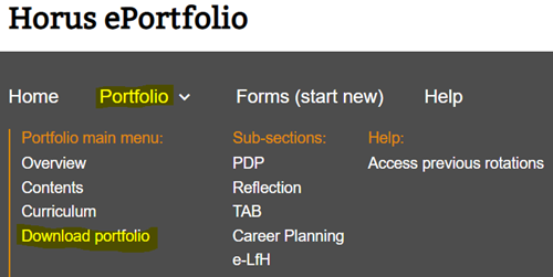 This image shows the foundation doctor portfolio menu with the download portfolio option highlighted