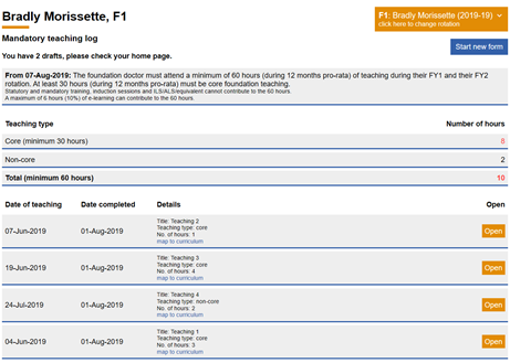 This image shows the mandatory teaching log overview page