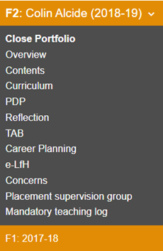 This image shows the portfolio drop down menu from the view of a trainer/administrator