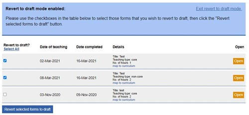 This image shows the revert to draft in bulk mode for mandatory teaching log form.
