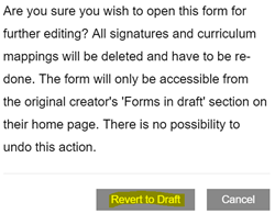 This image shows the revert to draft confirmation warning  with the revert to draft button highlighted