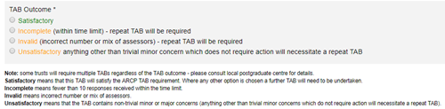 This image shows the possible TAB outcomes that can be chosen from when completing the TAB summary form