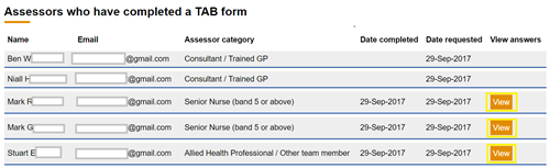 This image shows the manage assessor page of a TAB with the view button highlighted