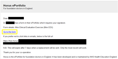 This image shows the notification email for signing a form