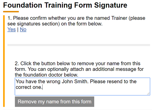 This image shows the declin to sign text box being completed with the remove my name from this form button showing