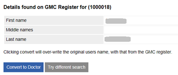 This image shows the search results from the gmc register
