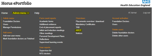 This image shows the admin menu with the ARCP section highlighted
