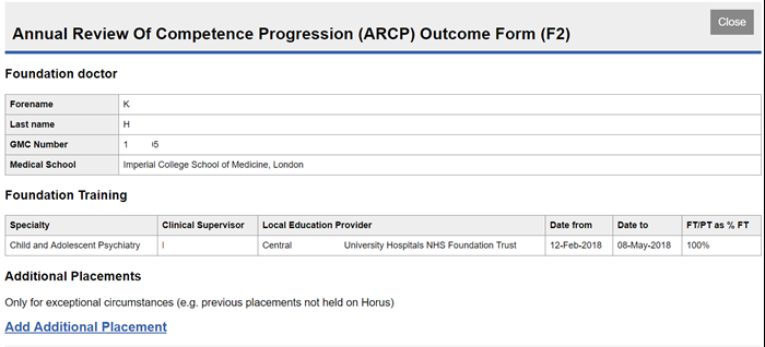 This image shows a newly created arcp outcome form with the pre-populated fields showing