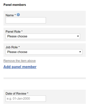 This image shows the panel member section of the arcp outcome form