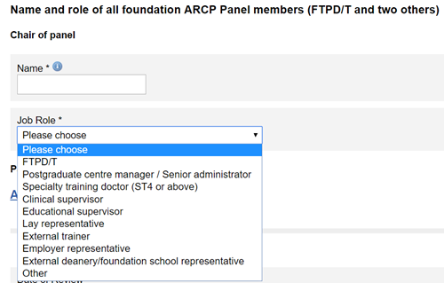 This image shows the add panel member section of the ARCP outcome form