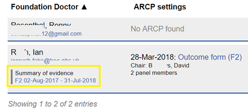This image shows the ARCP overview page with the link to view a doctors summary of evidence report highlighted