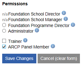 This image shows the levels of permissions available for users with the arcp panel member permission ticked