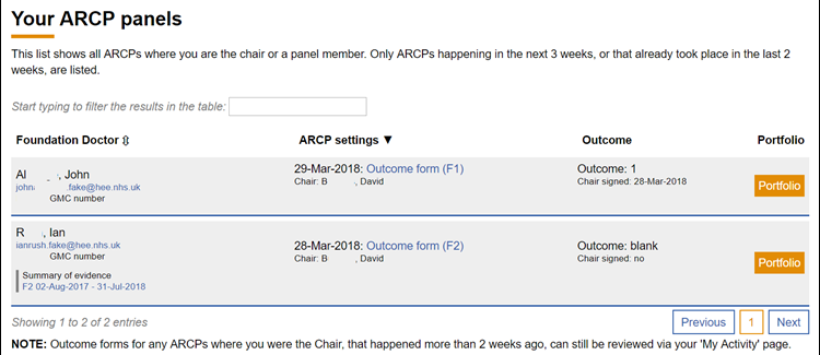 This image shows the arcp panel landing page