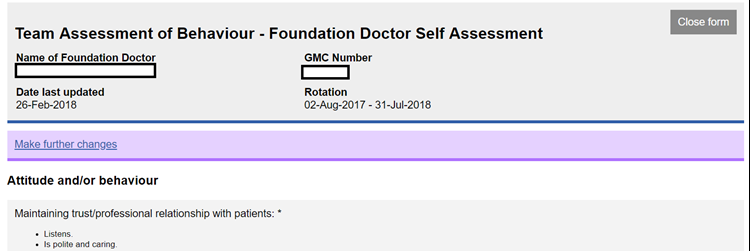 This image shows the foundation doctor elf tab form with the purple banner showing the make further changes link