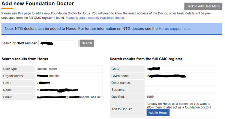This image shows the add new foundation doctor page with the add to Horus button highlighted