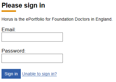 This is an image of the Horus ePortfolio sign in page