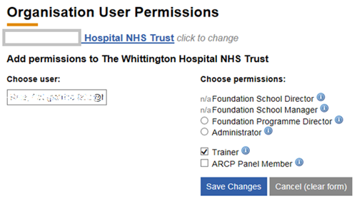 This image shows the manage permissions page
