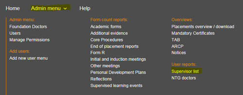 This image shows the user reports section of the admin menu with the supervisor list highlighted