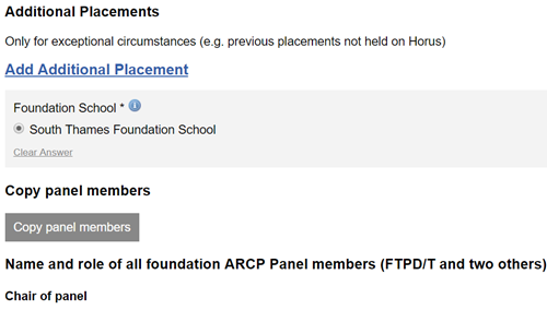 This image shows the copy panel members section of the arcp outcome form