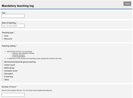 This image shows the mandatory teaching log form