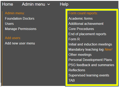 This image shows the form count reports section of the admin menu