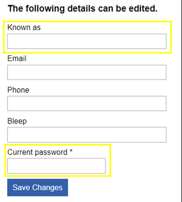 This image shows the user information fields that can be edited with the current password field highlighted