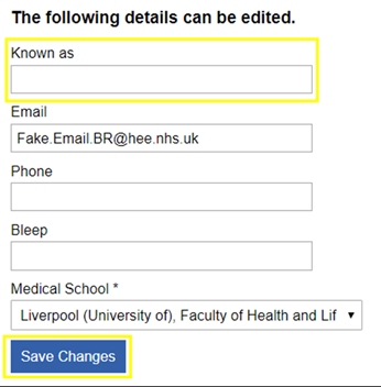 This image shows the user information fields that can be edited with the known as field highlighted