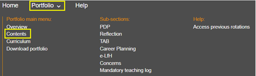 this image shows the foundation doctor portfolio menu with the content section highlighted