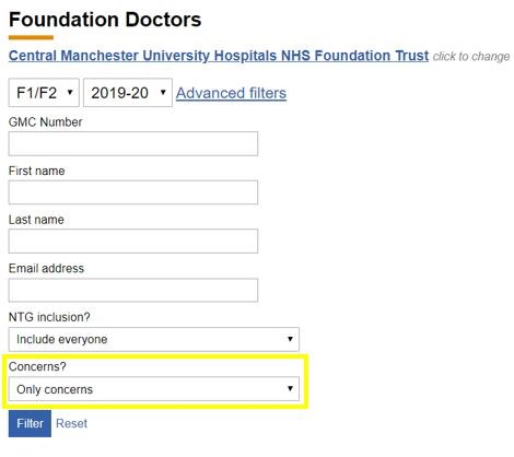 This image shows the foundation doctors search options with the concerns filter highlighted
