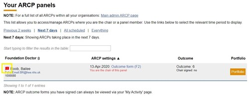 This image shows the concerns icon against a foundation doctor on the ARCP panels page