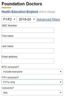This image shows the foundation doctors search filters with the FiY1 inclusion? filter set to FiY1s only