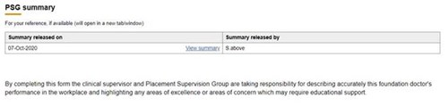 This image shows the link to a PSG summary from the clinical supervisor end of placement report
